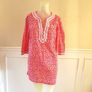 Boden coral and white tunic